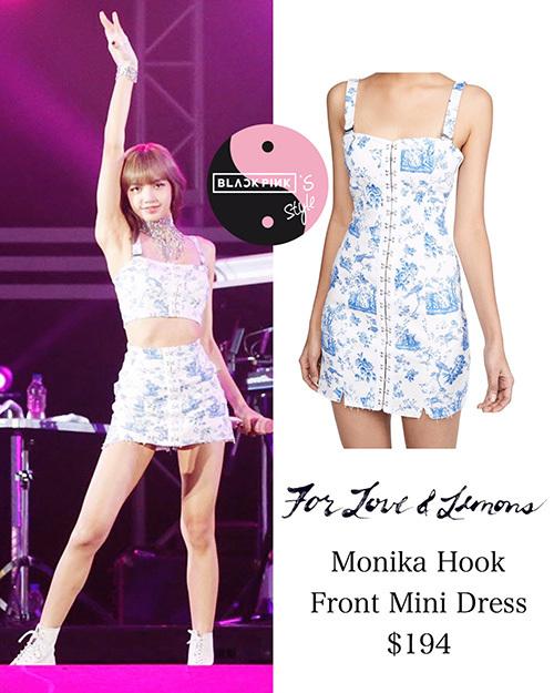 Set đồ của em út Lisa được biến tấu từ chiếc váy liền của thương hiệu For Love & Lemons, giá 194 USD (khoảng 4,5 triệu đồng). Sản phẩm này đã ngay lập tức bán cháy hàng nhờ sức ảnh hưởng của thành viên Black Pink.