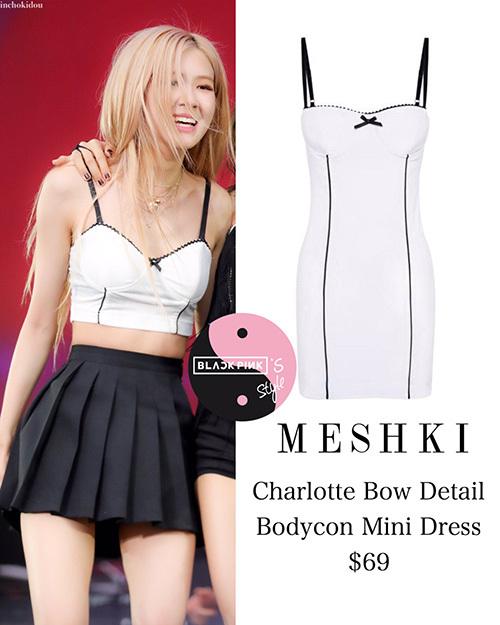 Áo crop top của Rosé thực chất là chiếc váy liền của thương hiệu Meshiki được cắt ngắn.