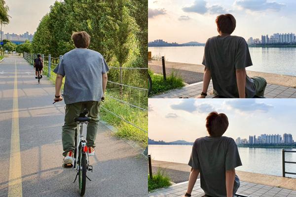 RM (BTS) có sở thích đạp xe, ngắm cảnh hoàng hôn bên bờ sông. Fan vui mừng khi biết nam ca sĩ đang có kỳ nghỉ thảnh thơi đúng nghĩa.