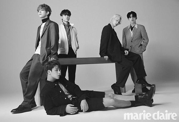 5 thành viên SEVENTEEN xuất hiện trong một bộ ảnh trên Marie Claire: S.Coups, Joshua, Vernon, Jeong Han, Min Gyu.