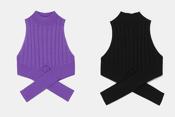 Thiết kế Tóc Tiên - Minh Hằng đang diện đến từ hiệu Zara, có giá bán chỉ 12,95 Euro (khoảng 300k). Mức giá mềm mại, phù hợp với thời tiết sang thu giúp nó được nhiều cô gái yêu thích. Áo có chi tiết cách điệu ở eo, tôn lên vóc dáng.