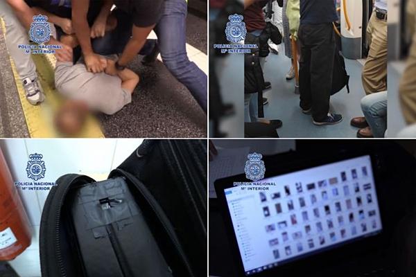 Cảnh sát bắt giữ nghi can giấu điện thoại di động trong ba lô để quay lén dưới váy các phụ nữ nơi công cộng ở Tây Ban Nha. Ảnh: AFP