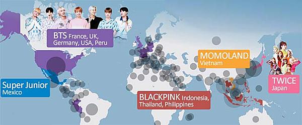 Infographic minh họa sự khác biệt về mức độ phủ sóng trên thế giới của các nhóm nhạc Kpop: BTS nổi tiếng nhất ở Mỹ, châu Âu và Peru; Twice ở Nhật Bản; Black Pink ở Indonesia, Thái Lan, Philippines; Super Junior ở Mexico và Momoland ở Việt Nam.