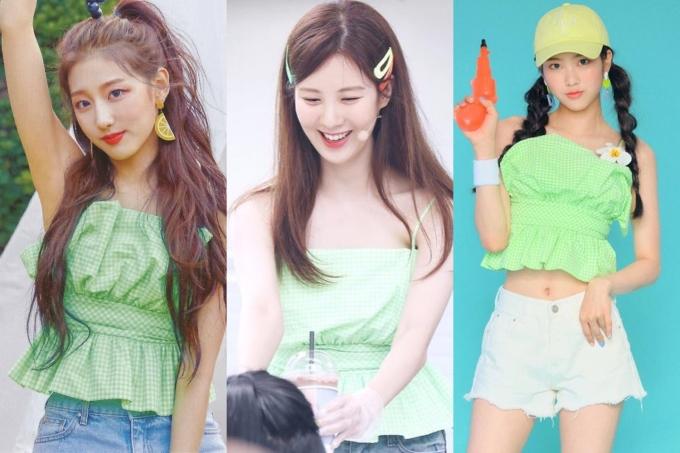 """<p> Không chỉ có trang phục cao cấp mới được lòng sao Hàn, nhiều món đồ bình dân cũng tạo nên """"cuộc chiến phong cách"""". Chiếc áo hai dây mát mẻ giá khoảng 700k của Zara chinh phục cả Yein (Lovelyz), Seo Hyun (SNSD) và Ji Ho (Oh My Girl).</p>"""