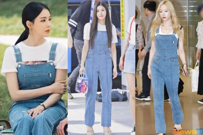 <p> Quần yếm giá 5,9 triệu đồng của nhà mốt Instantfunk cũng được Tae Yeon, Eunbi diện tại sân bay và Lee Da Hee (trái) diện trong bộ phim <em>Search WWW</em>. Trưởng nhóm SNSD ghi điểm nhờ mix quần yếm với áo thun ba lỗ, khiến tổng thể năng động hơn.</p>