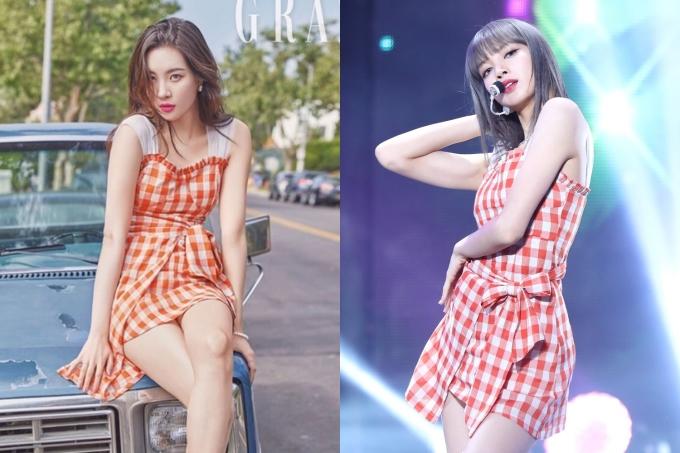 """<p> Chiếc đầm caro màu cam giá 102.000 won (xấp xỉ 2 triệu đồng) của Guka """"chiều lòng"""" cả 4 mỹ nhân: Lisa, Sun Mi, Mi Joo (Lovelyz) và Yerin (GFriend). Sun Mi và Lisa (trong ảnh) được xem là hai đối thủ """"ngang tài ngang sắc"""".</p>"""