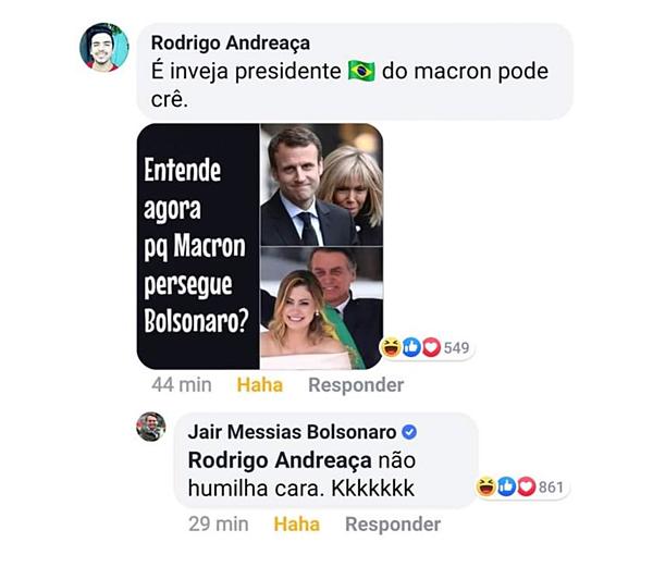 Tài khoản chính thức của ông Bolsonaro đã có tương tác với một bài đăng có nội dung chế giễu vẻ bề ngoài của bà Macron.
