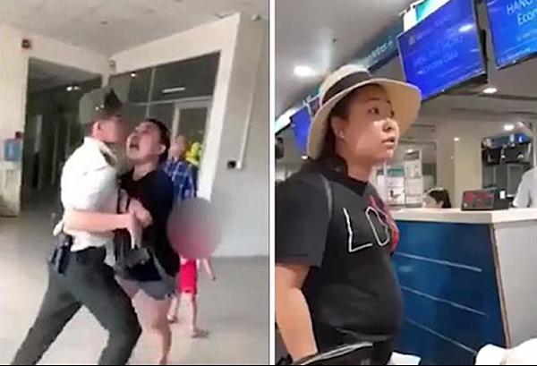 Ảnh chụp màn hình hình ảnh nữ hành khách dùng từ ngữ xúc phạm nhân viên hàng không tại sân bay Tân Sơn Nhất ngày 11/8.