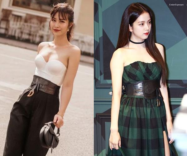 Kiểu túi đeo hông của Đông Nhi trùng hợp cũng là item Jisoo (Black Pink) chọn diện trong một sự kiện trước đó. Giọng ca nữ V-biz được đánh giá là có gu mix-match ấn tượng, bắt kịp xu hướng thời trang.