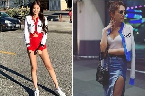 Jennie (ảnh trái)là gương mặt quảng cáo của thương hiệu Chanel. Cô nàng thường bị đụng hàngvới nhiều mỹ nhân trong showbiz. Với chiếc áo cardigan dáng lửng, thành viên Black Pink kết hợp quần short khoe chân dài. Nữ diễn viên Hứa Vỹ Ninh lại dùng là áo khoác hờ, lấp ló vòng 1.