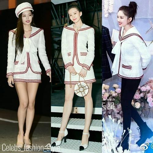 Jennie và Lưu Thi Thi (ảnh giữa)cùng mặc set đồ nhưng mỹ nhân xứ Hàn tạo khác biệt với mũ beret. Cổ Lực Na Trát (ảnh phải)lạo phối áo của Chanel cùng quần jean .