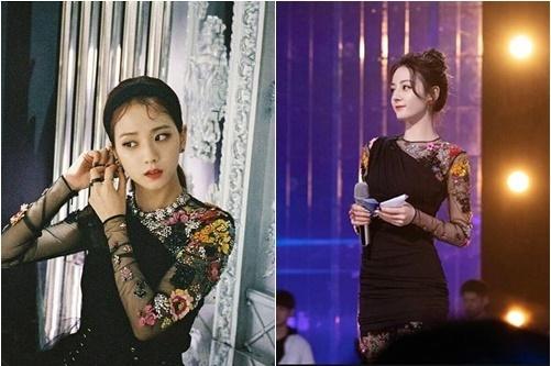 Ji Soo và Địch Lệ Nhiệt Ba đều là những mỹ nhân hàng đầu. Cả hai đều toát lên nét đẹp sang trọng, đậm chất tiểu thư danh giá khi diện váy của Versace.