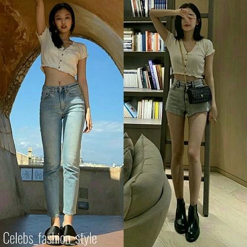 Jennie và Cổ Lục Na Trát (ảnh phải) để sở hữu hình thể hoàn hảo. Ngôi sao xứ Trung chọn phong cách gợi cảm còn Jennie lại hướng tới sự thoải mái khi mặc chung một chiếc áo.