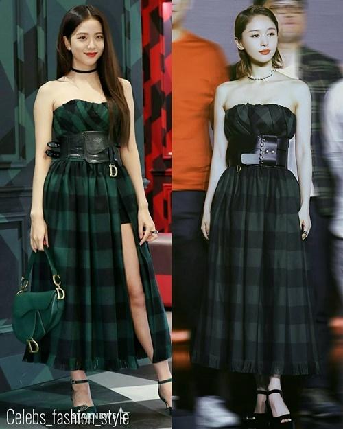 Ji Soo (bên trái)vừa gây sốt với ngoại hình hoàn hảo trong sự kiện của Dior. Thành viên Black Pink diện một chiếc váy xẻ, khoe vai trần cực gợi cảm. Trước đó, Vương Tử Văn cũng mặc một chiếc váy tương tự trong sự kiện. Kiểu tóc chải ngược giúp nữ diễn viên toát lên thần thái cực sang chảnh.