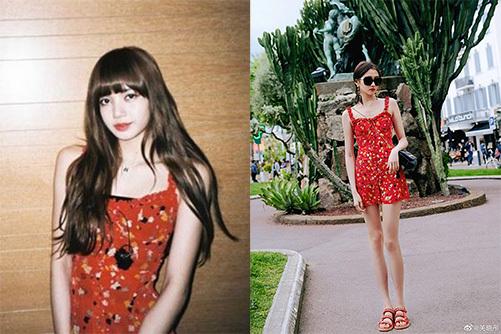 Lisa và Quan Hiểu Đồng (ảnh phải)đọ dáng trong thiết kế đậm chất mùa hè của thương hiệu Realisation.
