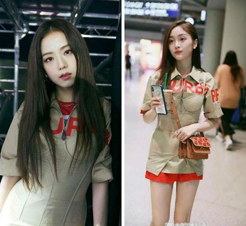 Ji Soo và Ngô Tuyên Nghi đụng hàng set váy với 3 lớp layer: váy cúp ngực bên ngoài – áo sơ mi ở giữa – áo phông đỏ ở giữa của thương hiệu Burberry. Tuy nhiên, nhiều ý kiến cho rằng cách trang điểm của thành viên Black Pink cao cấp và thu hút hơn.