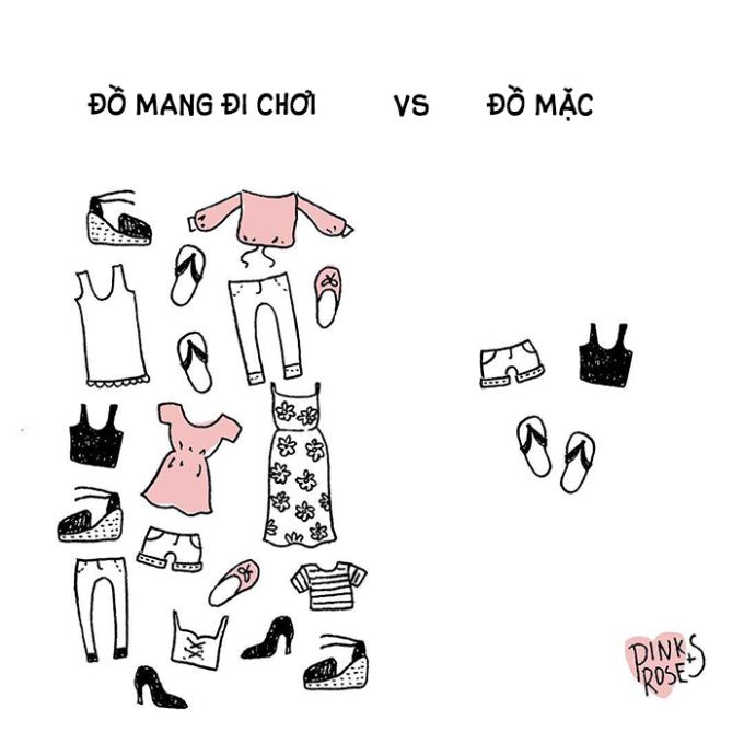 """<p> Trước khi đi du lịch, các nàng thường """"đắn đo lên xuống"""" nên mang gì để mặc đi chơi, mặc đi ăn, mặc chụp ảnh. Khó quyết định quá nên sắp đầy vali toàn quần áo, cuối cùng chỉ mặc một bộ.</p>"""