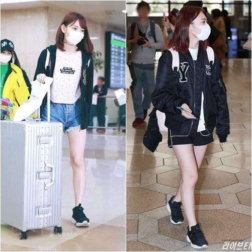 Khi mới sang Hàn tham gia show Produce 48, Miyawaki Sakura thường xuất hiện với phong cách như học sinh tiểu học với áo phông, quần short, áo khoác bomber.