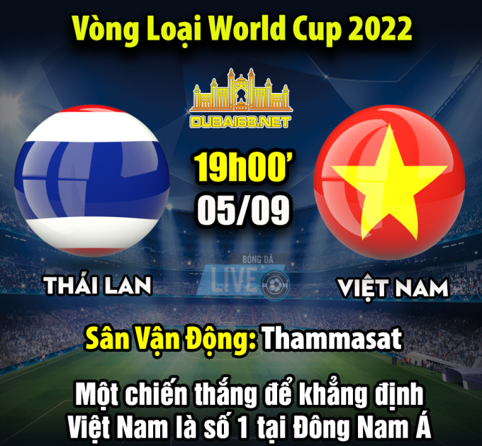 <p> Lượt trận đầu tiên ở bảng G, thuộc vòng loại thứ hai World Cup 2022, khu vực châu Á sẽ diễn ra trên SVĐ Thammasat. Trang chủ Liên đoàn bóng đá châu Á xếp trận đối đầu Việt Nam - Thái Lan vào top 5 trận đấu kinh điển ở lượt đấu này.</p> <p> Hiện các CĐV Việt Nam đang mong ngóng phút ra sân của thầy trò HLV Park Hang -seo. Trên mạng xã hội lúc này đang xuất hiện nhiều bức ảnh chế, hoạt động để hưởng ứng trận đấu.</p>
