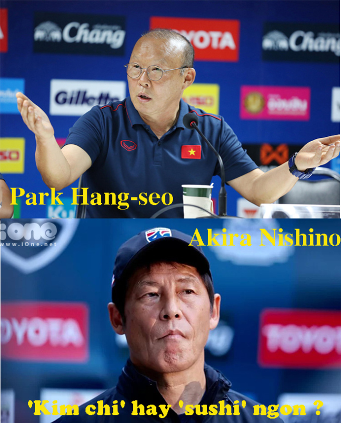 <p> HLV Akira Nishino - người từng đưa Nhật Bản vào vòng 16 đội mạnh nhất World Cup 2018, đang lãnh đạo tuyển Thái Lan. HLV Park Hang-seo - trợ lý của HLV Guus Hiddink - từng đưa Hàn Quốc lọt vào bán kết World Cup 2002, đang chèo lái tuyển Việt Nam. Ai sẽ hơn ai?</p>