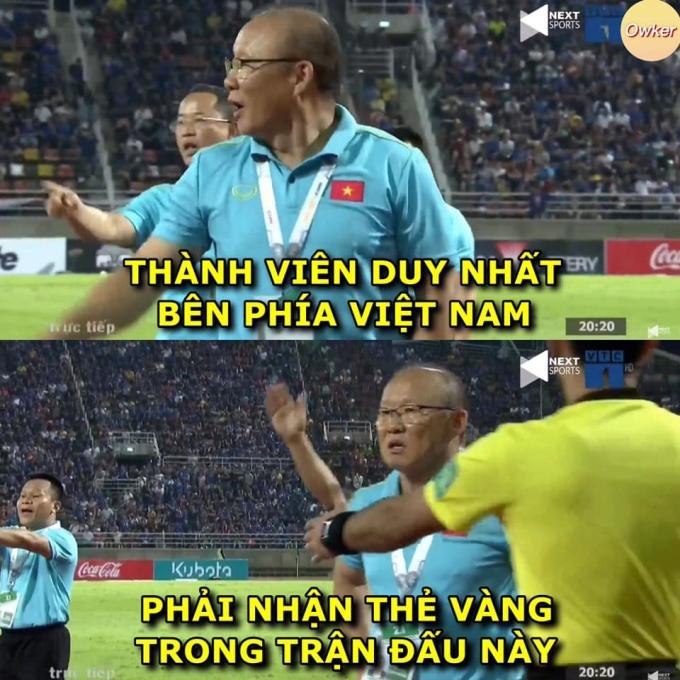 <p> Trong trận bóng gặp Thái Lan tối 5/9, HLV Park Hang-seo bất ngờ nhận một thẻ vàng từ trọng tài do lỗi phản ứng sau khi bảo vệ học trò Bùi Tiến Dũng. Trên mạng xã hội, sự việc này được bàn luận rôm rả với nhiều bức ảnh chế quanh biểu cảm của HLV Park.</p>