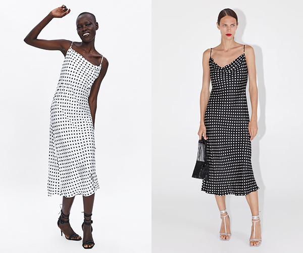 Bộ đầm mà hai người đẹp Hàn - Việt diện thuộc thương hiệu Zara, có giá bán khoảng 1,5 triệu đồng. Đầm có hai màu sắc trắng chấm bi đen và đen chấm bi trắng.