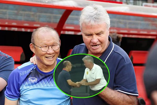 HLV Park Hang-seo (trái) lần đầu đối đầu với ông Guus Hiddink sau nhiều năm, kể từ World Cup 2022.