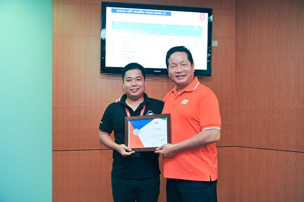 Chủ tịch FPT Trương Gia Bình trao giải Vàng iKhiến số 3 cho anh Cao Văn Việt (FPT Software).