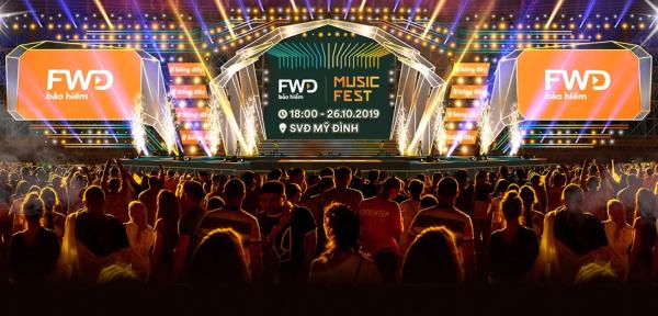 Sân khấu FWD Music Fest 2019 tại sân vận động Mỹ Đình, Hà Nội