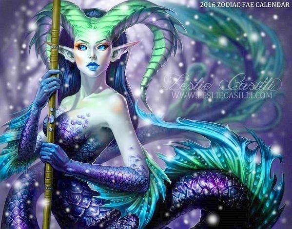 Ma Kết xinh đẹp và quyến rũ với hình ảnh nữ quái sừng dê, đuôi cá.