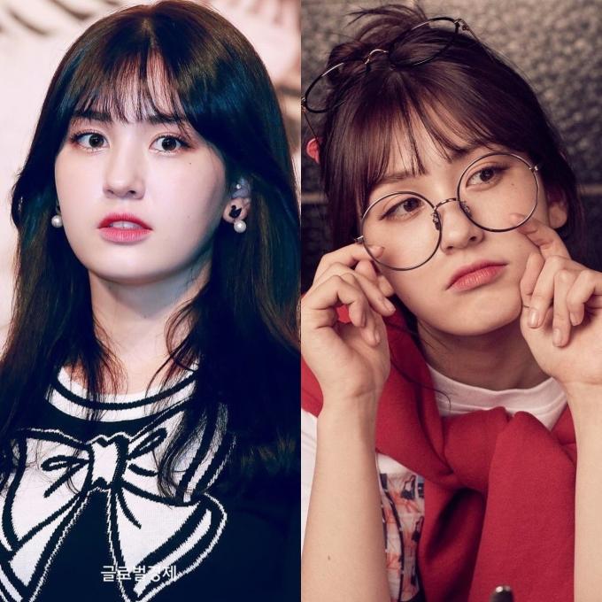 <p> Cặp kính gọng tròn bản to, chiếm gần nửa gương mặt giúp Somi đáng yêu hơn.</p>