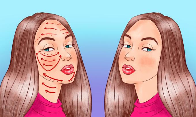 <p> <strong>Bước 1: Thoa dầu</strong><br /> Để tránh gây ra những tổn thương cho da, đầu tiên bạn nên thoa tinh dầu hoặc kem dưỡng ẩm ban đêm lên mặt, cổ. Sau đó nhẹ nhàng thoa đều lên da một vài giây theo chiều mũi tên.</p>