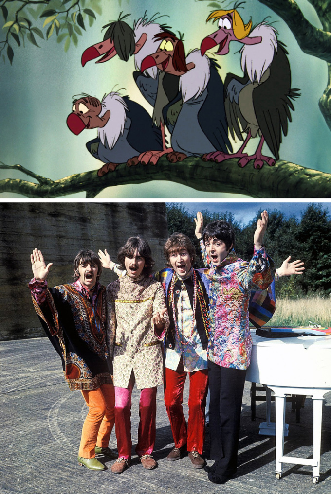 <p> <strong>4 con kền kền - The Beatles.</strong></p> <p> Khi sản xuất bản hoạt hình cho tiểu thuyết <em>The Jungle Book</em>, các nhà làm phim đã lồng ghép hình ảnh The Beatles - nhóm nhạc đình đám nhất thời bấy giờ.</p> <p> Dự định ban đầu, các thành viên John Lennon, Paul McCartney, George Harrison và Ringo Starr sẽ lồng tiếng cho 4 con kền kền. Các nhân vật được tạo hình theo kiểu tóc của The Beatles và cùng thể hiện ca khúc<em> Thats What Friends Are For</em>.</p> <p> Tuy nhiên có thông tin rằng, Lennon không thích xuất hiện trong phim. Ông nói với người quản lý Brian Epstein, nên bảo Disney mời Elvis Presley sẽ tốt hơn. Bởi vậy, dù nhóm nhạc đã truyền cảm hứng tạo nên 4 con kền kền, ý tưởng đưa họ vào phim đã không thể thực hiện.</p>