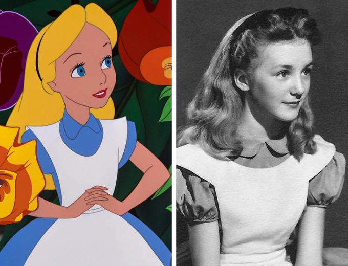 <p> <strong>Alice - Kathryn Beaumont</strong></p> <p> Các hoạ sĩ của Disney đã sử dụng Kathryn làm người mẫu để xây dựng hình ảnh Alice. Đồng thời, cô cũng là người lồng tiếng cho nhân vật này. Khi ấy Kathryn mới 10 tuổi.</p>