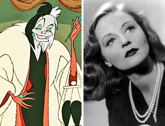 <p> <strong>Cruella de Vil - Tallulah Bankhead</strong></p> <p> Phiên bản hoạt hình của Cruella xuất hiện lần đầu tiên trong <em>101 chú chó đốm</em> (1961). Trong phim, Betty Lou Gerson lồng tiếng cho nhân vật. Nhưng đội ngũ đã phải tạo ra nhân vật từ trước đó nên họ tưởng tưởng tượng tích cách và cử chỉ của Bankhead để thiết kế nên Cruella.</p>