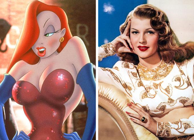 <p> <strong>Jessica Rabbit - Rita Hayworth</strong></p> <p> Bom tấn<em> Ai mưu hại thỏ Roger?</em> (<em>Who Framed Roger Rabbit?</em>) gây ấn tượng nhờ vai diễn và ngoại hình nóng bỏng của Jessica. Nhân vật này được dựa trên nữ diễn viên xinh đẹp Rita Hayworth.</p> <p> Ban đầu, tác giả Gary K. Wolf sáng tạo cô dựa trên hình ảnh vũ công trong phim hoạt hình <em>Red Hot Riding Hood</em>. Tuy nhiên sau đó, diện mạo của Jessica đã thay đổi. Sự thay đổi này lấy cảm hứng từ một số diễn viên, nhưng chủ yếu là Rita Hayworth. Đạo diễn hình ảnh cho biết ông đã cố gắng để nhân vật trông giống Hayworth, nhưng cuối cùng lại có mái tóc của Veronica Lake.</p>