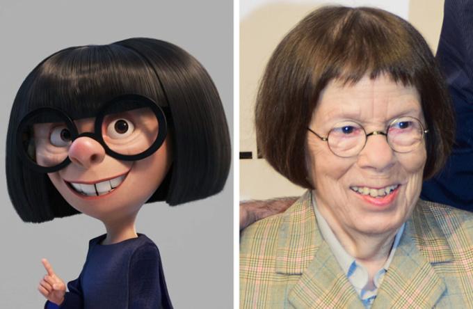 <p> <strong>Edna Moda - Linda Hunt</strong></p> <p> Nhân vật Edna trong phim <em>Gia đình siêu nhân</em> (<em>The Incredibles</em>) dựa trên cuộc đời của nhà thiết kế thời trang Edith Head. Tuy nhiên, ngoại hình nhân vật này có sự tương đồng gần như hoàn hảo với diễn viên Linda Hunt.</p>