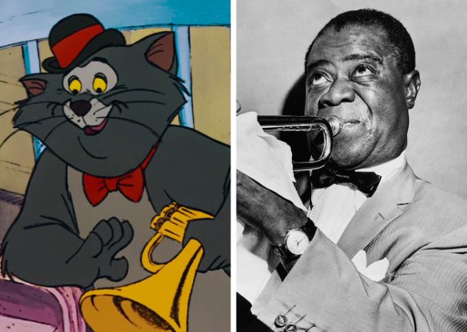<p> <strong>Scat Cat - Louis Armstrong</strong></p> <p> Scat Cat trong <em>Gia đình mèo quý tộc</em>dựa trên hình mẫu của ca sĩ, nghệ sĩ nhạc jazz nổi tiếng Louis Armstrong. Ý tưởng ban đầu là để ông lồng tiếng cho chú mèo Satchmo the Cat. Tuy nhiên, vì vấn đề sức khỏe, Armstrong không thể tham gia. Nhạc sĩ Scatman Crothers thay ông đảm nhiệm vai trò này và đổi tên nhân vật thành Scat Cat.</p>