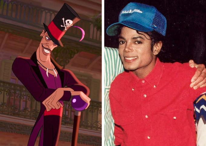 <p> <strong>Dr. Facilier - Michael Jackson</strong></p> <p> Dr. Facilier - vai phản diện trong phim <em>Công chúa và chàng Ếch</em> - được dựa trên hình mẫu Michael Jackson. Sự tương đồng mạnh mẽ giữa hai người không chỉ thể hiện ở thân hình mảnh khảnh và trang phục, mà còn thấy rõ ở phần vũ đạo của Facilier trong suốt bộ phim. Phong cách và tư thế cũng giống như những gì ông vua nhạc Pop thể hiện.</p>