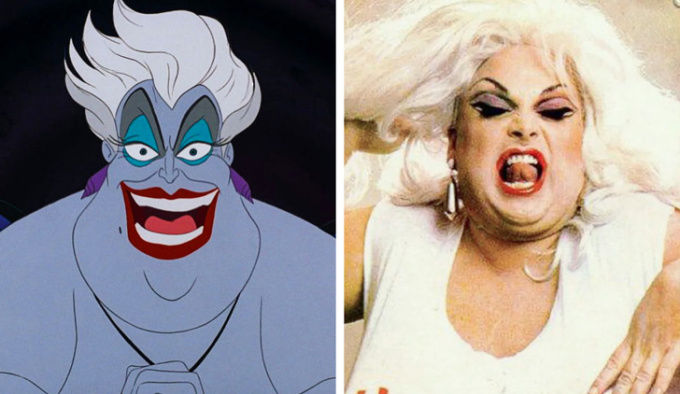 <p> <strong>Ursula - Divine</strong></p> <p> Harris Glenn Milstead (Divine) là diễn viên nổi tiếng người Mỹ - người đã truyền cảm hứng tạo ra mụ phù thủy Ursula ác độc. Những màn biểu diễn của ông đã góp phần định hình phong cách và tính cách của nhân vật phản diện.</p>