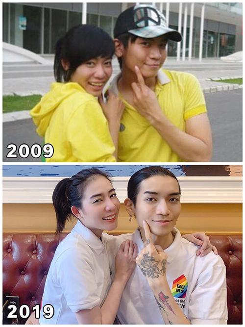 Kim Nhã và BB Trần so sánh sự thay đổi trong 10 năm.