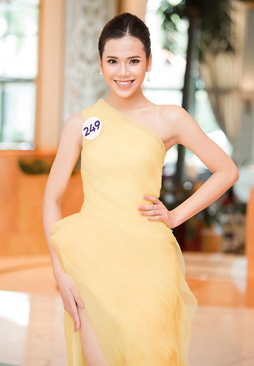 Đến với Hoa hậu Hoàn vũ Việt Nam 2019, Đỗ Thị Minh Tâm (Hà Nội) có sự đầu tư trang phục, trang điểm chỉn chu. Người đẹp sinh năm 1998 cho biết đây là lần đầu tiên và cũng có thể là duy nhất cô tham dự một cuộc thi hoa hậu, với mong muốn chứng tỏ mình rất phù hợp với chủ đề Brave Heart.