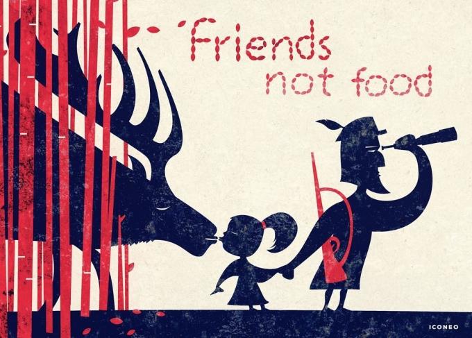 <p> Hãy dạy trẻ động vật là bạn thay vì đồ ăn. Hãy biết sống trong yêu thương thay vì săn bắn đến lúc chúng tuyệt chủng.</p>