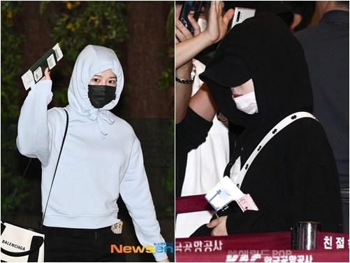 Ahn Yujin (áo xanh) và Chae Yeon mặc hoodie che chắn tóc mới. Người hâm mộ dự đoán nhóm chuẩn bị comeback ở Hàn.