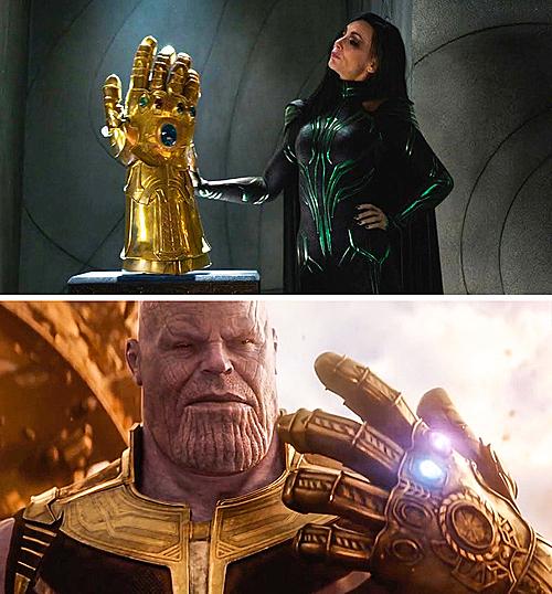 Trong Thor: Ragnarok, Hela ngay lập tức nhận ragăng tay vô cực trong hầm của Odin là hàng fake vì nó được làm cho tay phải. Hàng xịn được Thanos đeo ở tay trái.