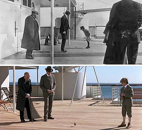 Trong Titanic, cảnh Jack đi ngang qua hai người đàn ông xem một cậu bé chơi trên boong tàu được dựa trên một bức ảnh có thật. Hình ảnh này được chụp trên tàu Titanic vài ngàytrước khi nó va vào tảng băng trôi và gây nên thảm kịch.