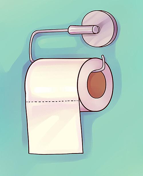 Tốt nhất nên treo giấy vệ sinh với đầu xé hướng ra phía ngoài tường. Bằng cách này, tay bạn không cần chạm vào tưởng nhà vệ sinh bởi vì trên đó có thể có nhiều vi khuẩn gây hại.