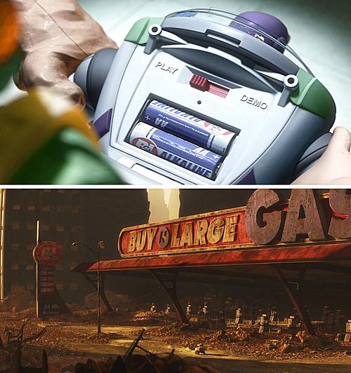 Trong Toy Story 3, pin của Buzz Lightyear được sản xuất bởi tập đoàn BNL - cùng tập đoàn đã sản xuất robot WALL-E.