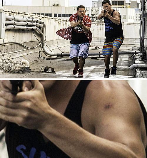 Trong phim hành động hài 22 Jump Street, Jenko có một vết sẹo trên vai trái vì bị bắn trong phần trước, 21 Jump Street.