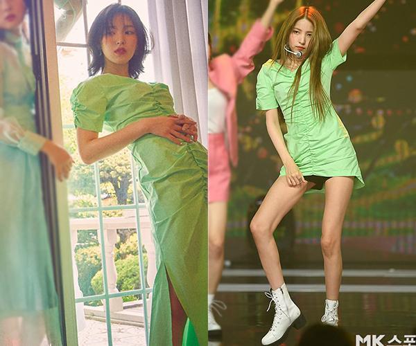 Chiếc váy màu xanh neon mát mắt đến từ nhà mốt 21Mar80 đều được Sowon (GFriend) và Wendy (Red Velvet) lựa chọn. Wendy đem đến vẻ đẹp dịu dàng và mơ màng trong bức ảnh họa báo cho tạp chí Allure Korea . (Hình 1)    Thì với cô nàng Sowon lại tăng thêm chút phá cách, khi cắt item thành váy ngắn và phối cùng đôi boot trắng cổ cao cá tính. (Hình 2)
